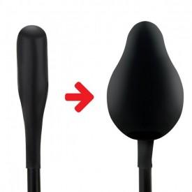 Черный надувной анальный шар с грушей-насосом