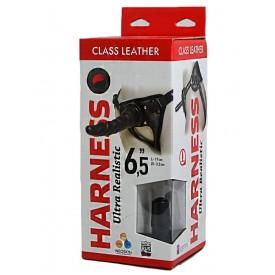 "Насадка-фаллоимитатор на кожаных трусиках Harness Ultra Realistic 6,5"" - 18,5 см."